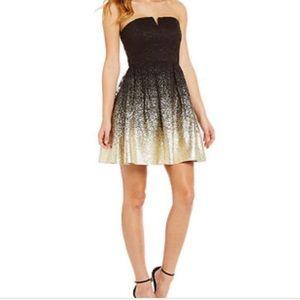 B darlin goldblack strapless party dress